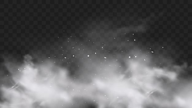 Eksplozja białego śniegu z odrobiną cząstek i płatki śniegu na białym tle na przezroczystym ciemnym tle. eksplozja białej mąki w proszku, farba holi w proszku. efekt smogu lub mgły. realistyczna ilustracja