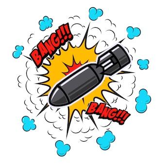 Eksplozja komiksu w stylu pop-artu z bombą. element plakatu, karty, banera, ulotki. ilustracja