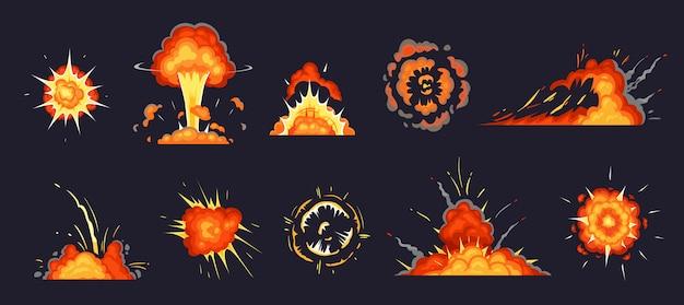 Eksplozja kreskówek. wybuchające bomby, wybuch atomowy i komiczne eksplozje chmury dymu zestaw ilustracji