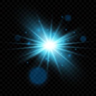 Eksplozja świecącego światła. dekoracja z błyszczącymi promieniami. jasna gwiazda