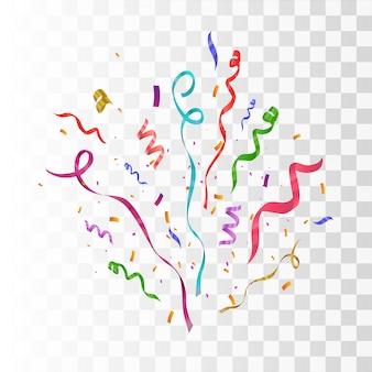 Eksplozja wybuchu konfetti. kolorowe latające wstążki i serpentyny. tło urodziny party