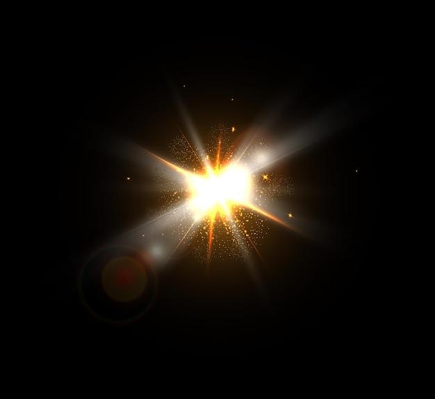 Eksplozja wybuchu żółtego świecącego światła z iskierkami promieni. jasna gwiazda.