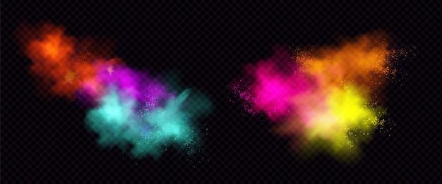 Eksplozje kolorowego proszku lub pyłu z cząstkami.