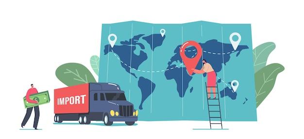 Eksport i import ładunków, koncepcja logistyki. mały biznes człowiek niesie ogromne rachunki za pieniądze w pobliżu ciężarówki i ogromnej mapy z kobietą umieścił punkt docelowy. ilustracja wektorowa kreskówka ludzie
