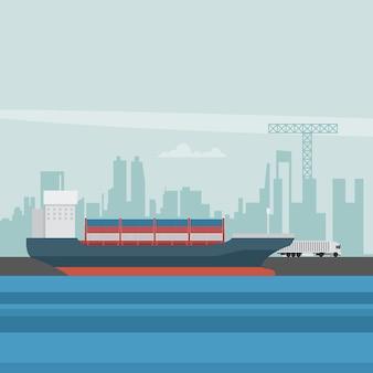 Eksportuj port morski z kontenerowcem i ciężarówką