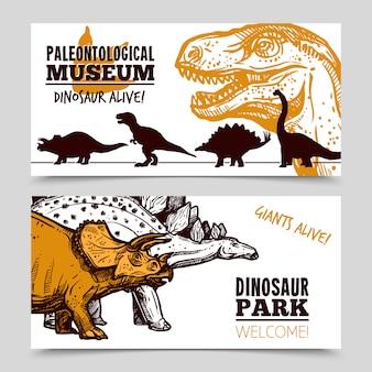 Ekspozycja muzeum dinozaurów 2 zestaw banerów