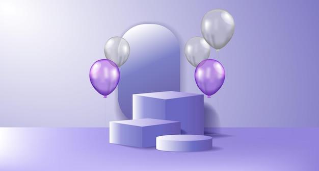 Ekspozycja produktów na podium z latającym balonem wypełnionym helem