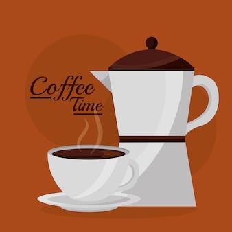 Ekspres Do Kawy I Kubek Gorącego Napoju Premium Wektorów