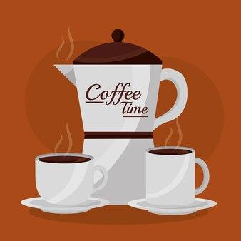 Ekspres Do Kawy I Kubki Do Gorących Napojów Premium Wektorów