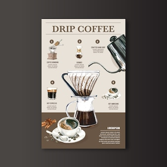 Ekspres do kawy kroplówki, americano, cappuccino, menu espresso, nowoczesna, akwarelowa ilustracja