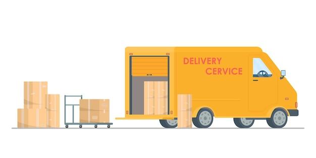 Ekspresowa dostawa. dostawa ciężarówka wektor ilustracja płaskie. koncepcja szybkiej dostawy. poczta.