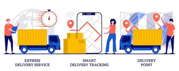 Ekspresowa dostawa, inteligentne śledzenie online, kurier, koncepcja punktu dostawy zamówień z małymi ludźmi. usługi wysyłki paczek wektor zestaw ilustracji. lokalizacja ciężarówki, kurier z metaforą pudła.