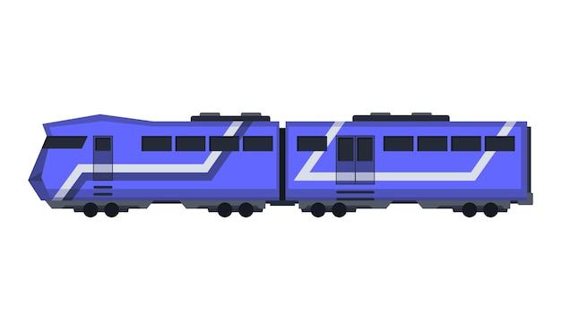 Ekspresowy pociąg pasażerski. wagon kolejowy. kreskówka metro lub szybki pociąg.