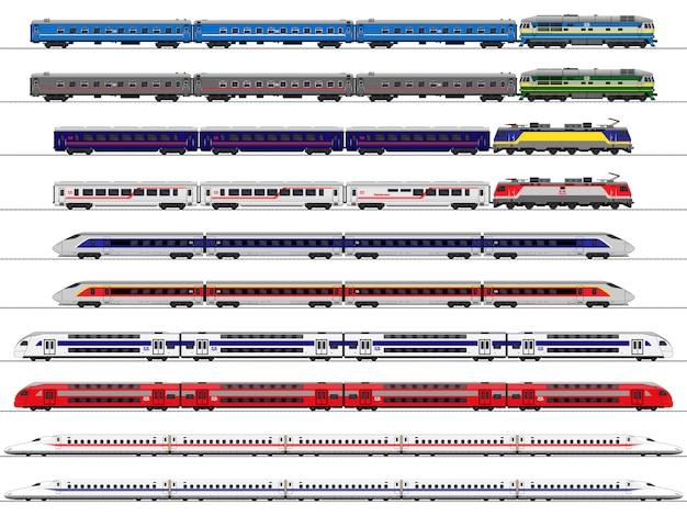 Ekspresowy pociąg pasażerski. wagon kolejowy. zestaw