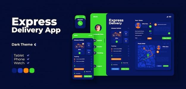 Ekspresowy szablon projektu aplikacji kurierskiej. interfejs trybu nocnego aplikacji wysyłki do domu z płaskimi ilustracjami. smartfon, tablet, inteligentny zegarek z kreskówkowym interfejsem
