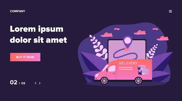 Ekspresowy van dostarczający paczkę, pudełko lub paczkę. mapa, gps, ilustracja pojazdu. koncepcja usługi dostawy i logistyki dla banera, strony internetowej lub strony docelowej