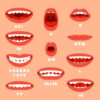 Ekspresyjna artykulacja w ustach kreskówek, animacje mówienia warg.