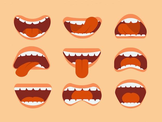 Ekspresyjna kreskówka ludzki usta z języka i zębów.