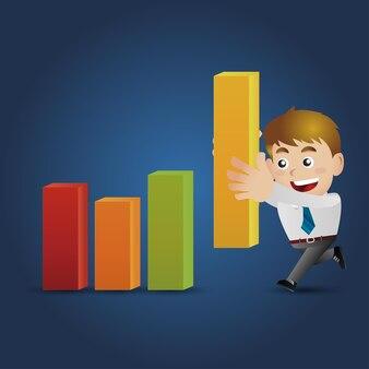 Ekspresyjny biznesmen w różnych pozach