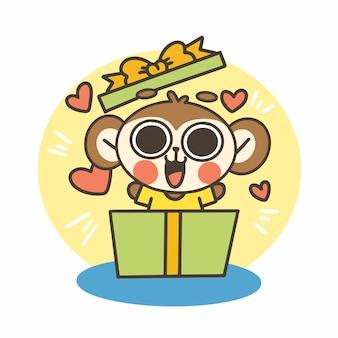 Ekspresyjny ładny mały chłopiec małpa doodle ilustracja