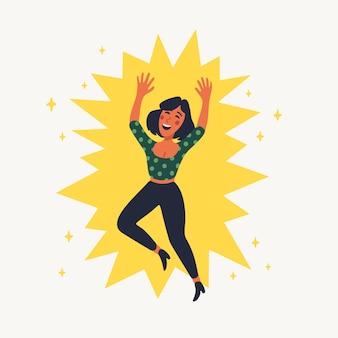 Ekstrawertyczna koncepcja. szczęśliwa dziewczyna skacze.