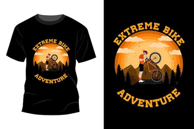 Ekstremalna koszulka rowerowa przygodowa makieta vintage retro