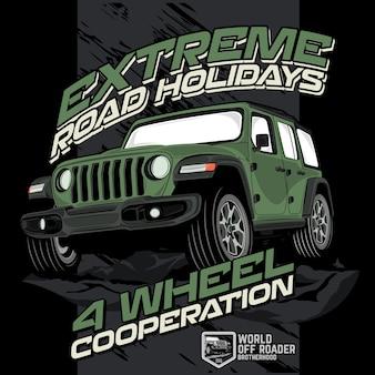 Ekstremalne wakacje offroad, wektorowe ilustracje samochodowe