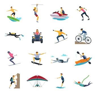 Ekstremalne zajęcia sportowe płaskie kolekcja ikon
