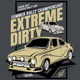 Ekstremalnie brudne, letnie mistrzostwa rajdowe, ilustracja sportowego samochodu wyścigowego