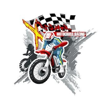 Ekstremalny czerwony off road motorbike, szablon logo x-treme.