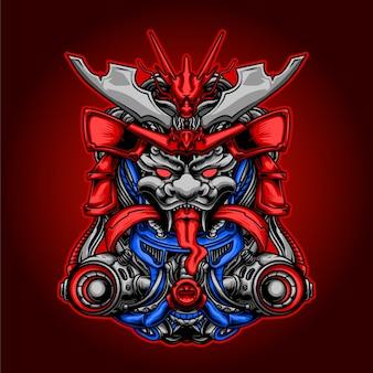 El drago ilustracja samuraja mecha