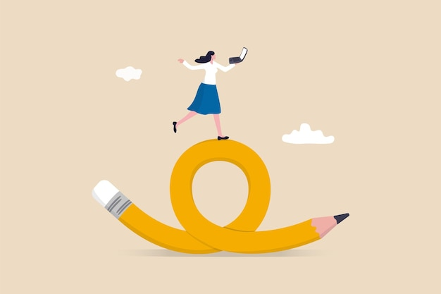 Elastyczna praca, praca zdalna w dowolnym miejscu i czasie, wybór pracownika do wyboru czasu i miejsca dla koncepcji produktywności i kreatywności, wesoła kobieta lubi pracę z laptopem na giętkim ołówku.