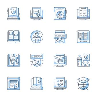 Elearning, edukacja zdalna liniowy wektor zestaw ikon.
