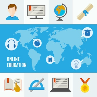 Elearning flat concept