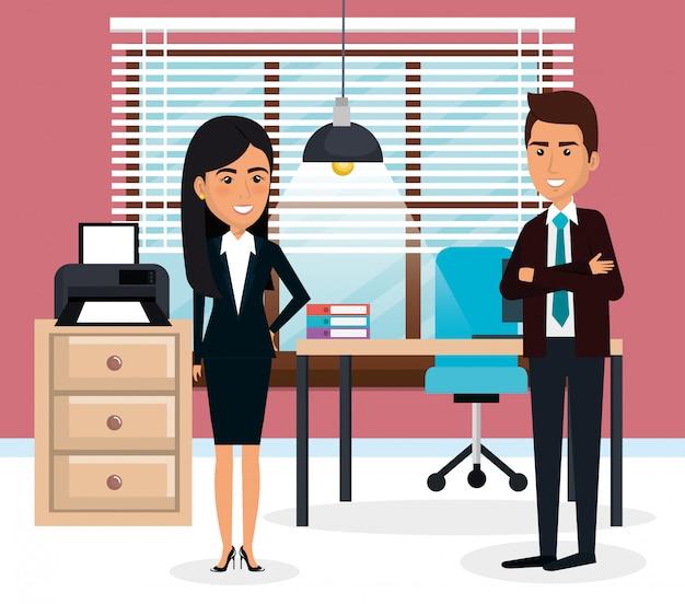 Eleganccy ludzie biznesu na scenie biurowej