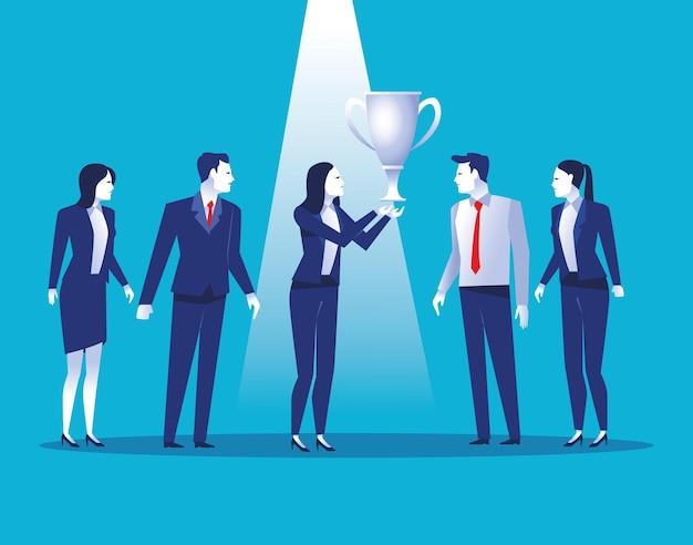 Eleganccy ludzie biznesu pracowników z ilustracją nagrody puchar trofeum