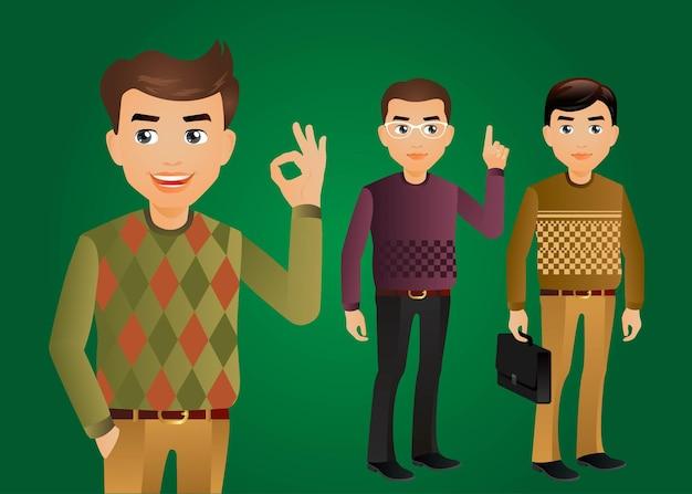 Eleganccy ludziemężczyźni w modnych ubraniach