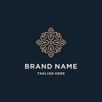Elegancka, abstrakcyjna ozdoba kwiatowa logo design