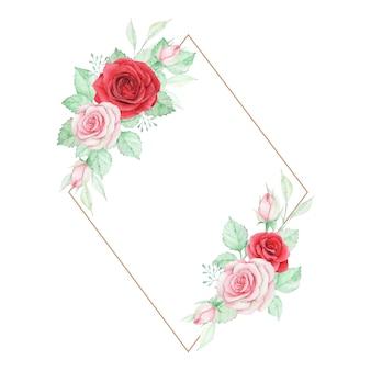 Elegancka akwarela kwiatowy rama z różą i liśćmi