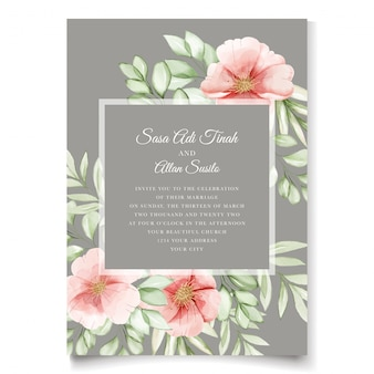 Elegancka akwarela pies róży kwiaty zaproszenia ślubne