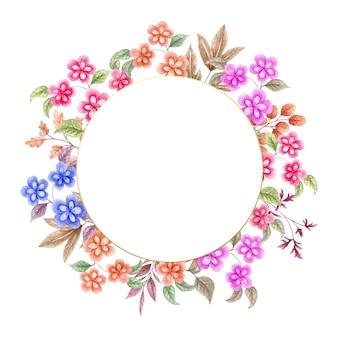 Elegancka akwarela wiosenna kolorowa ramka kwiatowy