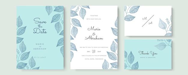 Elegancka akwarelowa karta zaproszenie na ślub z niebieskimi liśćmi