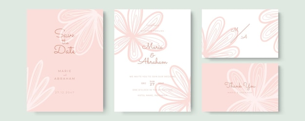 Elegancka akwarelowa karta zaproszenie na ślub z różowymi liśćmi