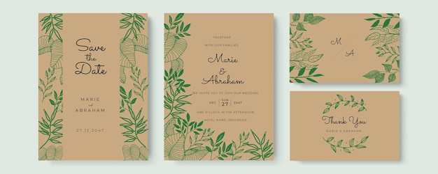Elegancka akwarelowa karta zaproszenie na ślub z zielonymi liśćmi