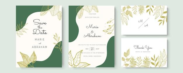 Elegancka akwarelowa karta zaproszenie na ślub ze złotymi liśćmi