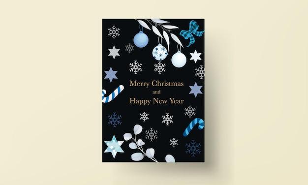 Elegancka biała kartka świąteczna z liśćmi i ozdobą świąteczną