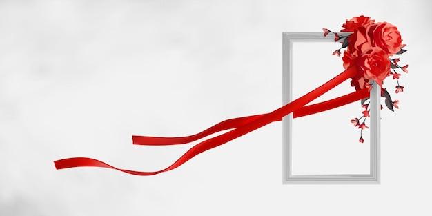 Elegancka biała ramka z pięknymi czerwonymi różami i wstążką