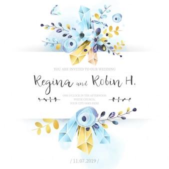 Elegancka błękitna i złota akwareli ślubna karta
