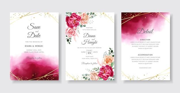 Elegancka bordowa akwarela na karcie zaproszenie na ślub