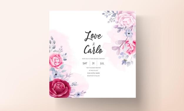 Elegancka bordowa fioletowa karta zaproszenie na ślub kwiatowy akwarela